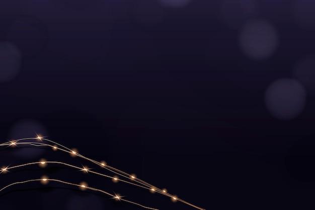 Vettore di sfondo bordo bokeh in viola con luci cablate incandescente