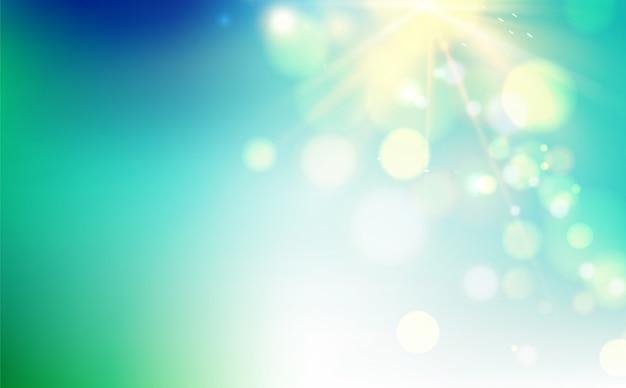 青い背景にボケ味の泡と太陽のフラッシュ