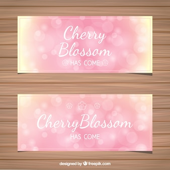 Bokeh cherry blossom banners in pink tones