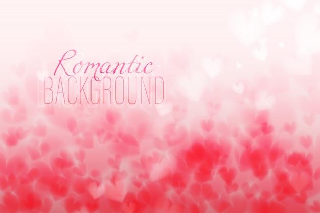 ピンクの心臓bokehの光バレンタインの日の水平の背景。 colを変更した背景