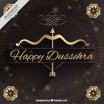 Bokeh dussehra background with golden elements