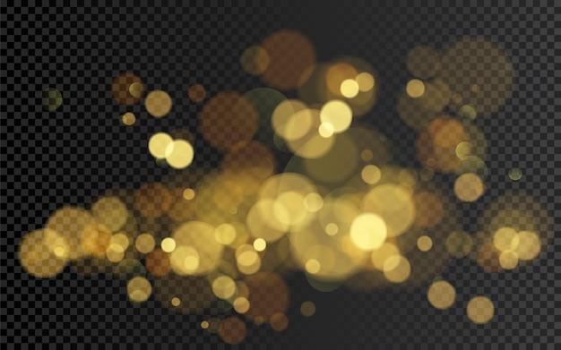 보케 효과. 디자인에 대 한 크리스마스 빛나는 따뜻한 황금 반짝이 요소. 투명 배경에 고립 된 그림