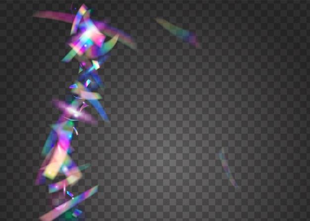보케 효과. 레인보우 틴슬. 바이올렛 레이저 글리터. 반짝이 예술. 브라이트 포일. 네온 반짝임. 여러 가지 빛깔의 그림을 흐리게 합니다. 디스코 프리즘. 핑크 보케 효과