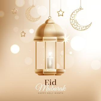 Bokeh effect with lantern eid mubarak