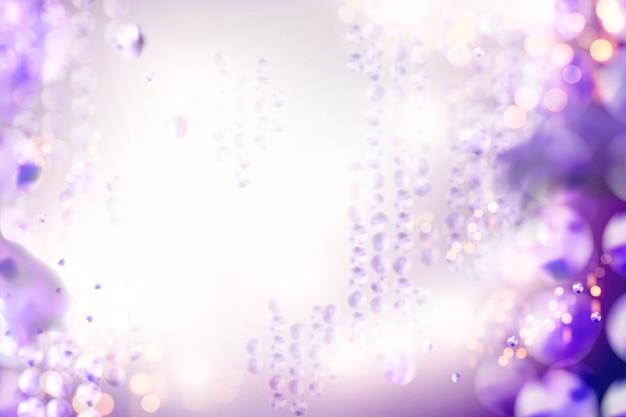 Bokeh glittering purple beads background