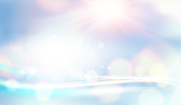Bokeh and lens flare on light blue sky background.