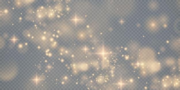ボケ光の光が背景に影響を与える輝くほこりのクリスマスの背景