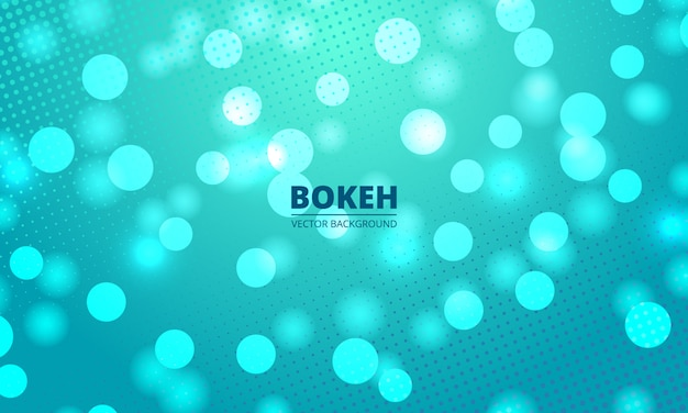 Bokeh lights on a green and blue halftone background. defocused festive lights. blurred bright abstract bokeh on light turquoise green water backdrop.