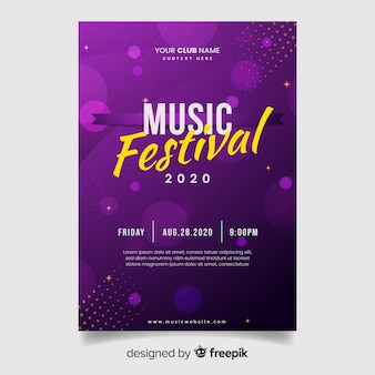 Bokeh lights music poster template
