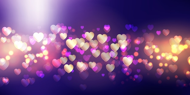Bokeh lights valentine's day banner