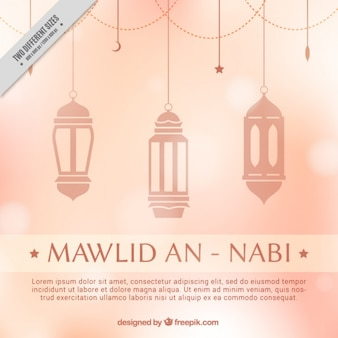 Bokeh mawlid background with lamps hanging