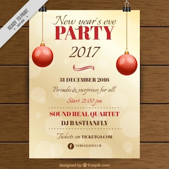 Bokeh party poster with red balls for christmas