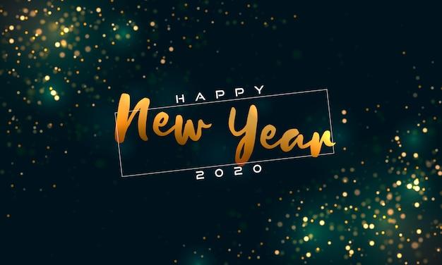 Bokeh sparkle christmas 2020 background, magic lights. Premium Vector