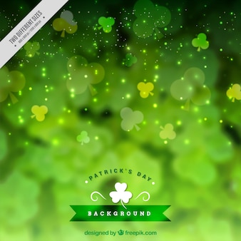 Bokeh st patrick's day background with decorative clovers