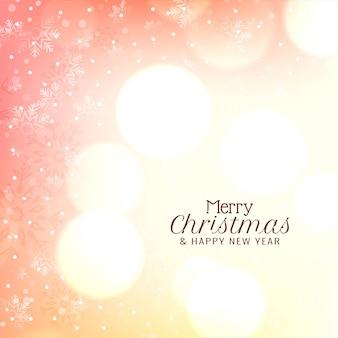 ボケスタイルのメリークリスマスの雪片の背景