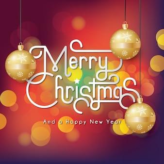 ゴールデンクリスマス装飾ボールでフルメリークリスマスbokehの背景色