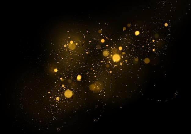 Абстрактная предпосылка с влиянием bokeh золота, частицами пыли.