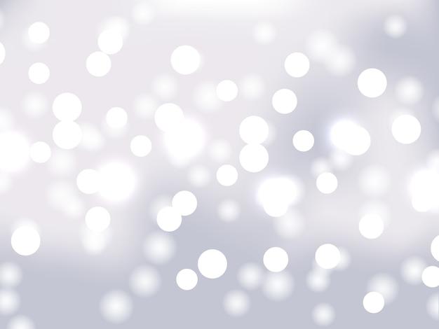 Белая и серебряная предпосылка bokeh. праздничные светящиеся белые огни с блестками. размытые яркие абстрактные боке на светлом фоне.