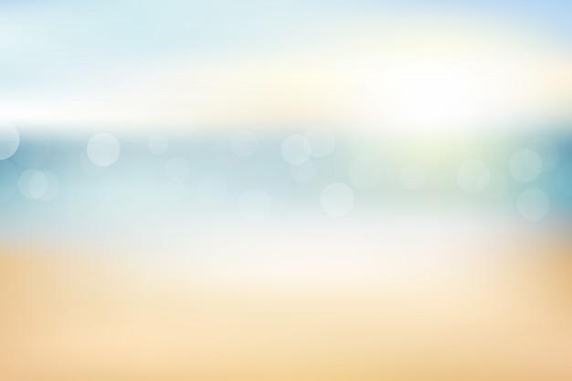 Запачкайте пляж и песок резюмируйте предпосылку с солнцем bokeh освещают на лето.