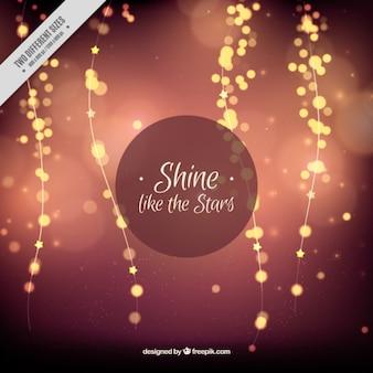 Bokeh эффект фон с блестящими лампочками