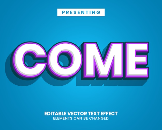 Bold 3d colorful  text effect on blue background