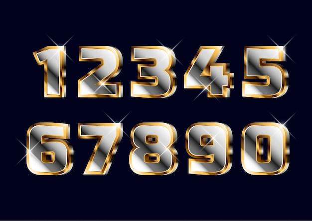 굵은 3d 금 크롬 숫자 세트