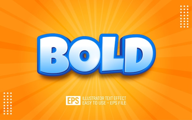 Bold 3d text editable style effect template
