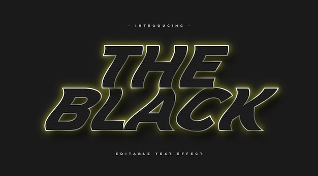 Bold black text style with glowing and wavy effect. editable text style effect