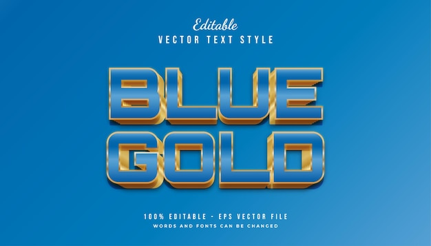Bold blue and gold text style effect Premium Vector