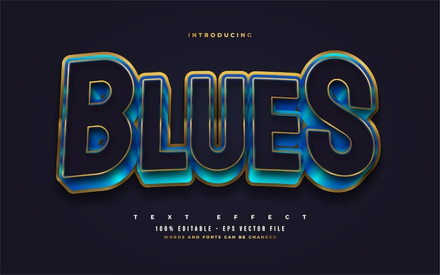 Bold blue and gold text style with 3d embossed effect. editable text style effects