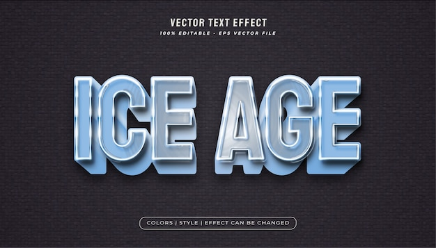 Bold blue ice text style with frozen ice effect