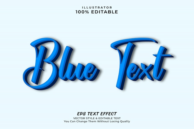 Bold blue text effect, editable style
