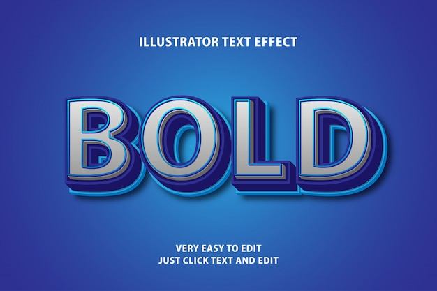 Bold blue white text effect, editable text