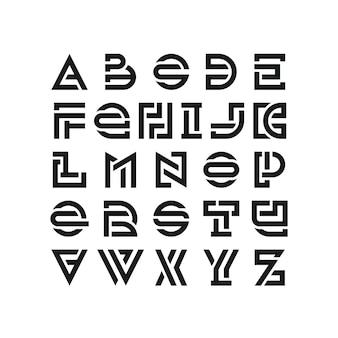 大胆な壊れたラテンフォント、グラフィカルな装飾タイプ、黒のモダンな英語の文字。