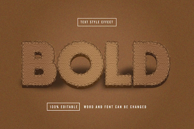 Bold brown fabric text effect editable