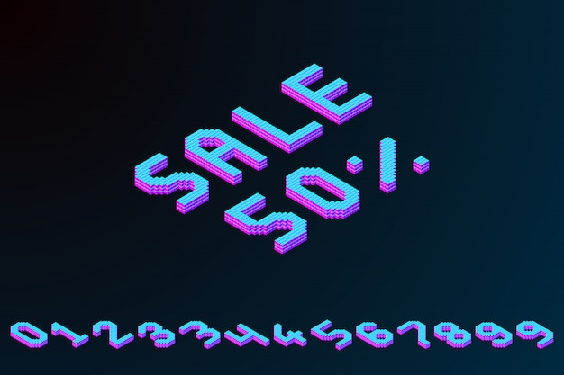 Bold colorful isometric pixel 3d banner