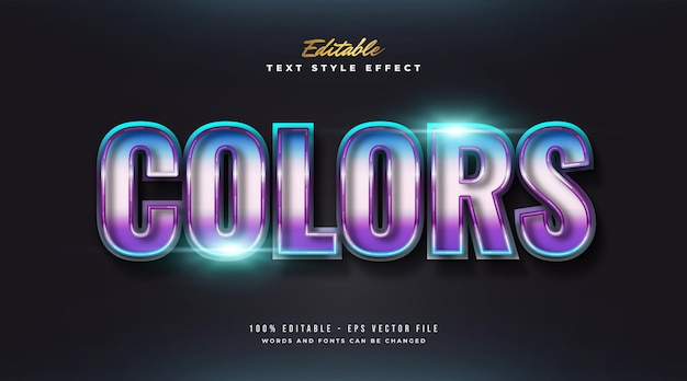 광택 효과가있는 현대적이고 미래적인 스타일의 대담한 다채로운 텍스트