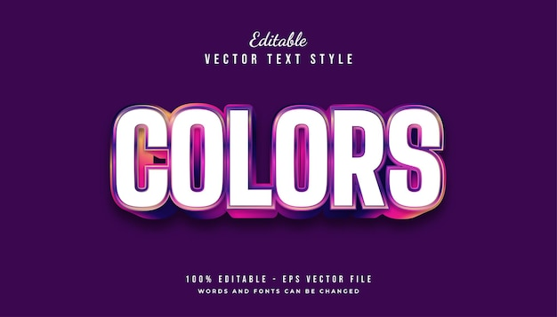 Bold colorful text style effect with embossed effect