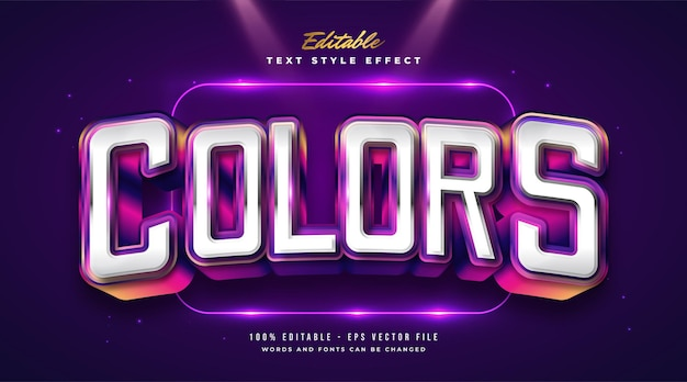 Bold colorful text style with curved effect