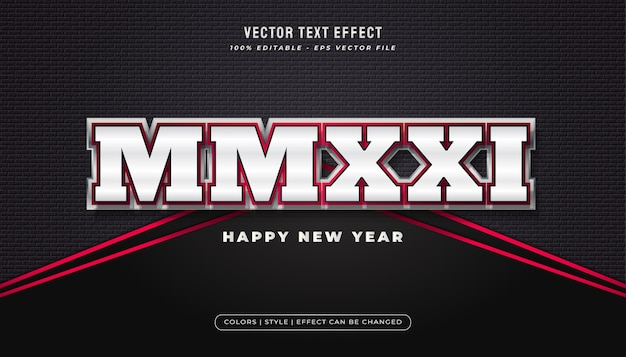 Bold elegant white and red text style with realistic effect