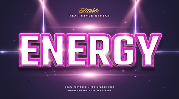 Bold energy text style with glossy and embossed effect