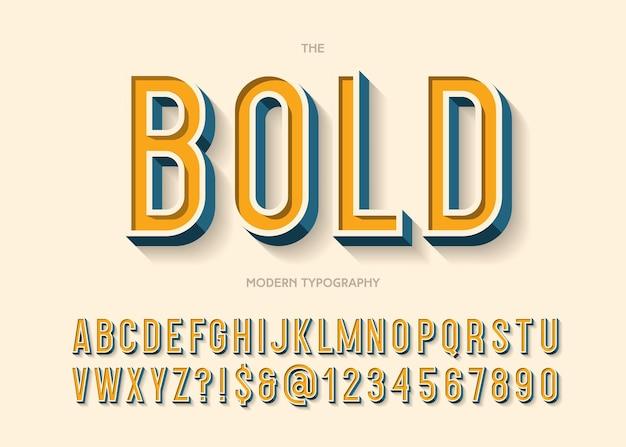 대담한 글꼴 화려한 3d 스타일 일러스트