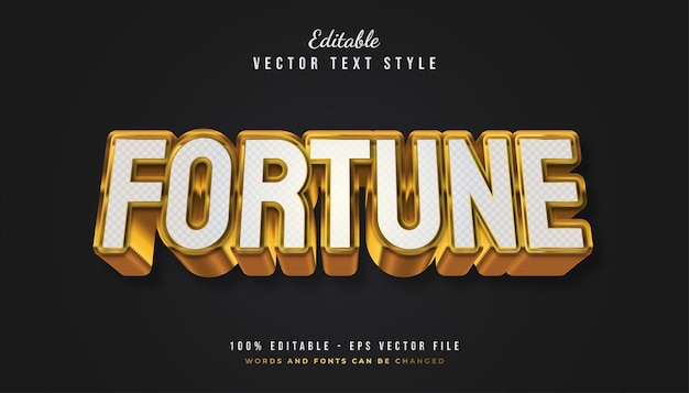 Bold fortune text style in white and gold with textured and embossed effect