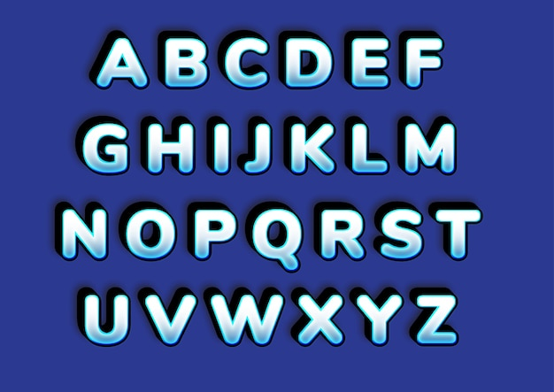 Bold frozen ice effect 3d alphabets set
