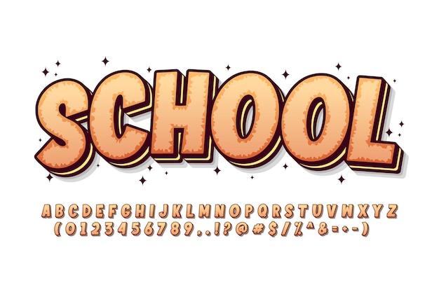 Alfabeto di caratteri dei cartoni animati audaci e divertenti con affascinante