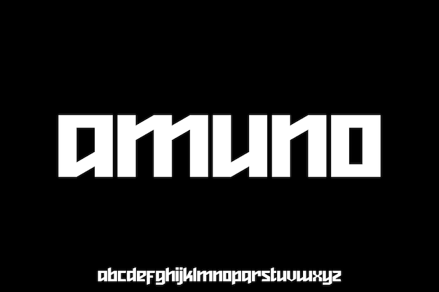 Bold futuristic geometric sharp edge font