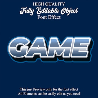 Bold game text style editable font effect