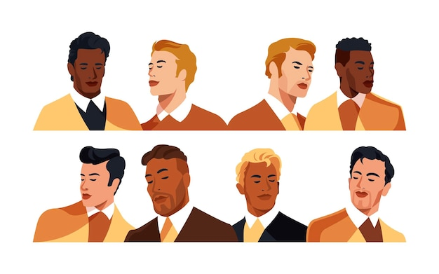 Bold gentleman portraits vector illustration