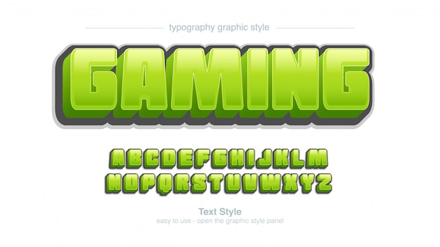 Bold green bubble glossy cartoon typography graphic style