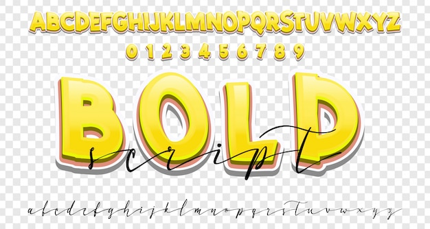 Bold and handwriting font set, modern calligraphy style